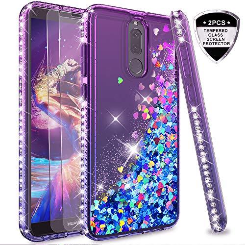 LeYi Funda Huawei Mate 10 Lite Silicona Purpurina Carcasa con [2-Unidades Cristal Vidrio Templado],Transparente Cristal Bumper Telefono Gel Fundas Case Cover para Movil Mate 10 Lite ZX Azul/Púrpura