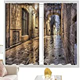 Cortinas para dormitorio City,Gothic Barcelona España Europa W52 x L95 Pulgadas Cortinas de bolsillo para dormitorio