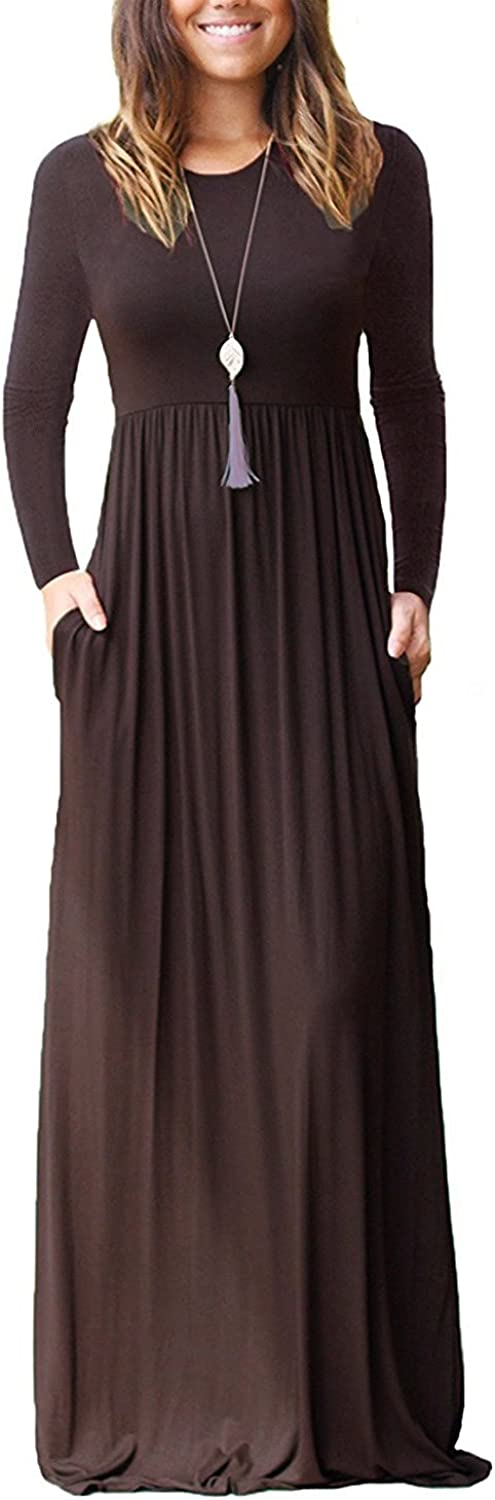Babe Maps Womens Loose Plain Long Maxi Summer Casual Swing Dress with Pockets