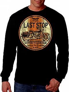Last Stop Motorcycle shirt Biker Rider Route 66 Harley Vintage Mens Long sleeve Tee
