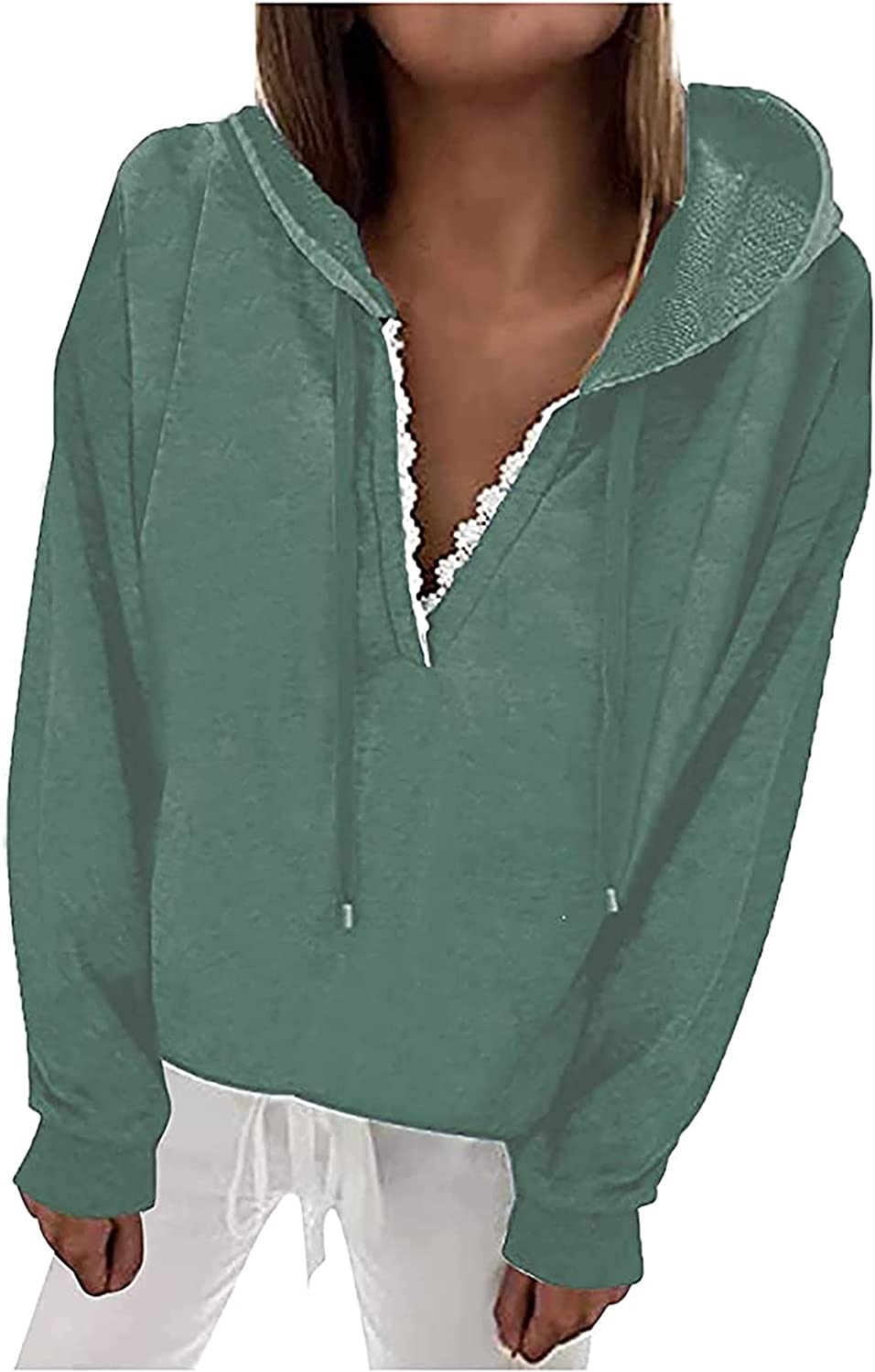 Women's Long Sleeve Hooded Sweatshirt Casual Solid Color V-Neck Hoodies Loose Fit Drawstring Pullover Fall Short Tops