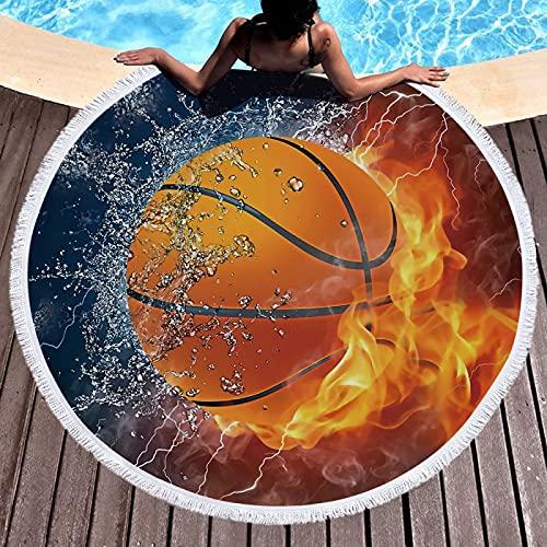 NTtie Toalla de Playa Toallas de baño Grandes de Secado rápido con Estera de Yoga Manta de Playa Bola de Toalla de Playa Estampada