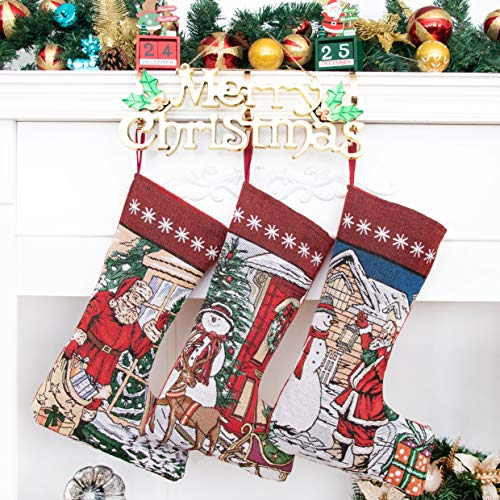 Beyond Your Thoughts Nikolausstrumpf Weihnachtsstrumpf Deko Kreuzstich Kamin Christmas Stockings Nikolausstiefel zum befüllen und aufhängen groß Ideale Weihnachtsdekoration Schneemann