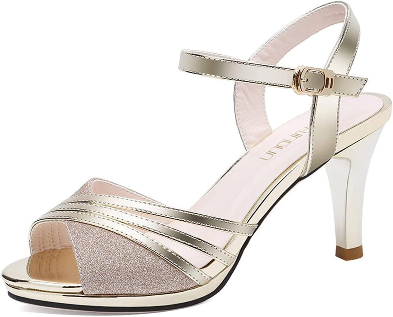 Meiren One-Button Female Sandals Summer Ladies High Heel Stiletto Fashion shoes gold