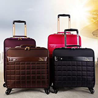 Trolley Case Bag Vintage Suitcase Wheels Travel Trolley Men Cabin Travel Women Leather Rolling Luggage Travel Luggage Carry-Ons (Color : Brown, Size : 20inches)