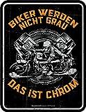 RAHMENLOS Original Blechschild für den etwas älteren Biker: Biker Werden Nicht grau, das ist...