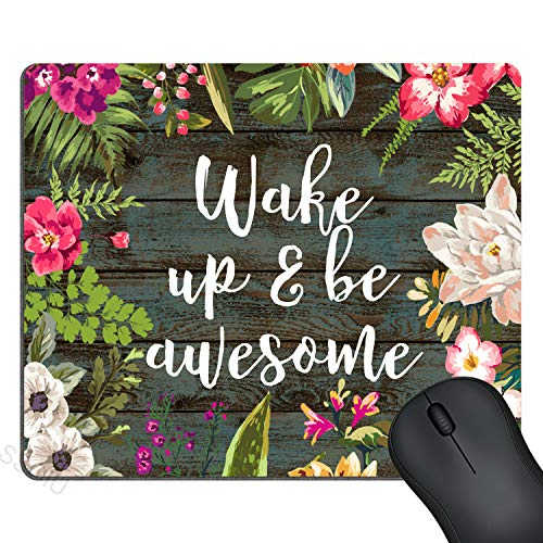 SSOIU Gaming Mouse Pad Custom, Wake up and be Awesome Inspirational Quotes Mouse pad Vintage Hand Drawn Floral Wreath Art on Rustic Wood White Quote