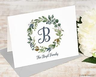 NAVY MONOGRAM FOLDED - Personalized Family Wreath Elegant Stationery/Stationary Note Card and Envelope Set