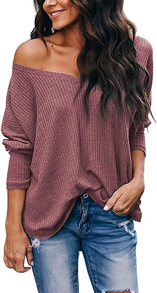 LuckyMore Womens Casual Off The Shoulder Tops V Neck Waffle Knit Shirt Batwing Sleeve Loose Pullover Sweaters