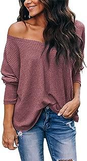 Women's Casual Off Shoulder Tops V Neck Waffle Knit...