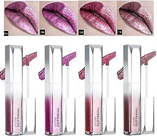 BSMEAN Juego de 4 lápices labiales líquidos con brillo brillo de labios lápiz labial impermeable de larga duración taza an...