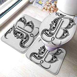 Bath Rugs for Bathroom Washable Letter B,Classical Artistic Designed Font with Ornamental Details Alphabet Typescript, Black White,Large Floor Mats for Living Room Colorful