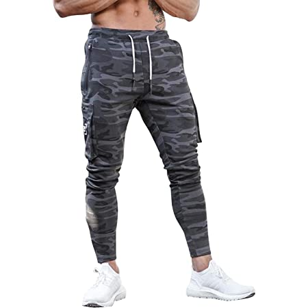 Yidarton Mens Joggers Sports Trousers Sweatpants Jogging Bottoms Slim Fit Tracksuit Gym Running with Pocket