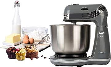 Rührmaschine mit Edelstahl Rührschüssel 3 Liter - Knetmaschine inkl Knethaken Rührbesen - Küchenmaschine mit 6 Geschwindigkeitsstufen 850 – 1200 pro Minute - Retro Grau