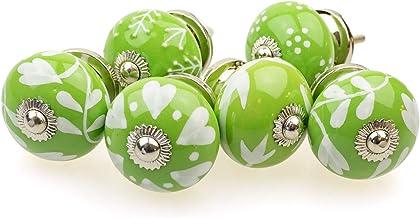 Gałka meblowa gałka meblowa zestaw 6 szt. 097GN mieszane zielone srebrne - Jay guzik ceramika porcelana ręcznie malowane g...