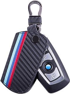 JKCOVER for BMW 1 2 3 4 5 6 7 Series X3 Remote Fob, M-Colored Stripe Black Carbon Fiber Pattern Leather Key Holder with Ke...