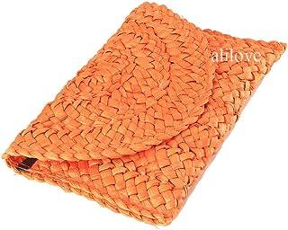Straw Clutch Summer Evening Handbag Beach Purse Woven Straw Bag Envelope Clutch Purse for Women