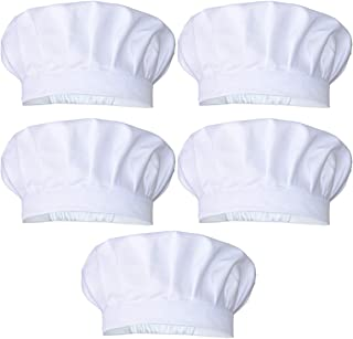 JoyFamily 5 Pieces Chef Hat with Comfortable Durable Cotton Materials and Adjustable Size for Adults (White)