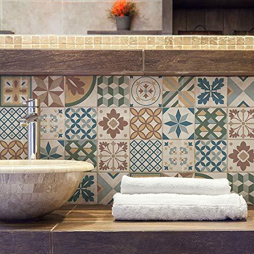 Confezione 10 Pezzi misura 20x20 cm - Made in Italy - PS00207 Adesivi in PVC decorazioni Piastrelle in vinile Bagno e Cucina Stickers Design Adesivi Murali