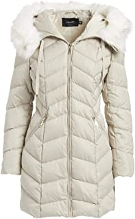T Tahari Womens Q6822069 Heavy Weight Puffer Coat with Faux Fur Hood Hooded Down Coat