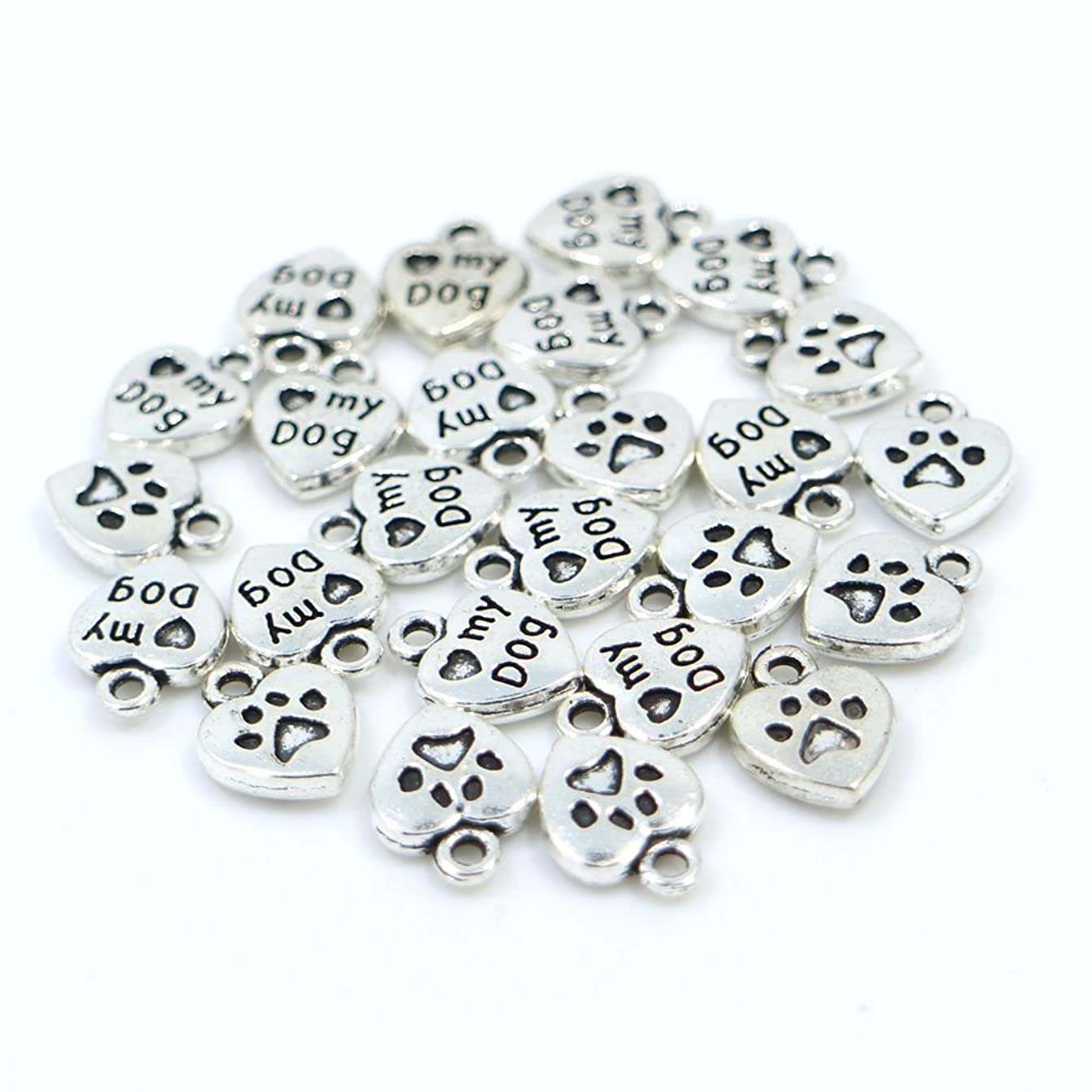 100pcs Mixed Color Vintage My Dog Paw Heart Shape Charms Pendant, DIY Crafts, Jewelry Making Charms Pendant (Antiqued Silver)