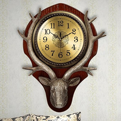 Bonne action Horloge murale Européenne Montres Cerf Tête Horloge Murale Mute Salon Américain Creative Rétro Décoratif Horloge Murale Horloge Quartz Horloge Mur Cartes ( Couleur : Or )