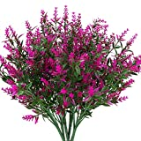 WOVELOT Artificielle Fleurs de Lavande Plantes 6 PièCes, Lifelike RéSistant Aux UV Faux Arbustes Verdure Bouquet Arbustes pour Illuminer Votre Jardin de Maison DéCor ExtéRieur (Fushia)