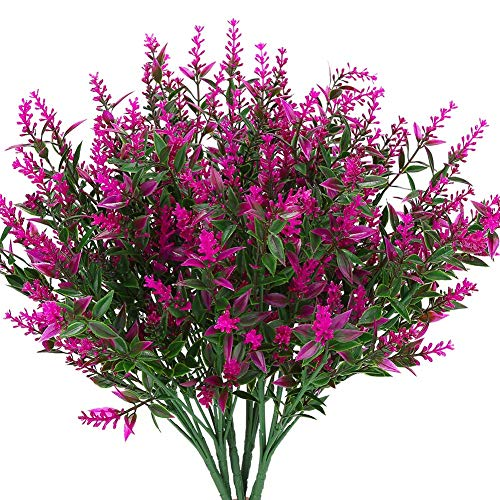 TUTI Artificial Lavender Flowers Plants 6 Pieces,Lifelike Uv Resistant Fake Shrubs Greenery Bushes Bouquet To Brighten Up Your Home Kitchen Garden Indoor Outdoor Decor(Fushia)