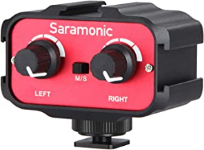 Saramonic SR-AX100 Universal Dual Channels Microphone Amplifier Audio Mixer Adapter Interview 3.5mm Jack & Cold Shoe Mount for Canon EOS T6i Nikon D3300 DSLR Camera Camcorder