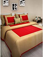 JCE Unique Art Rajasthani Jaipuri Traditional Sanganeri Print 144 TC Cotton Double Size Bedsheet with 2 Pillow Covers (Red)