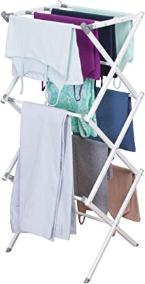 InterDesign Brezio Stainless Steel Expandable Cloth Dry Stand Foldable - Clothes Drying Rack for Laundry Room - 3 Tiers, White/Gray