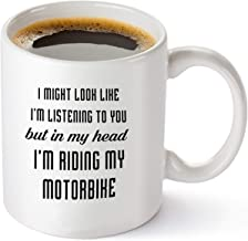 In My Head I'm Riding My Motorbike - Motorcycle Gift Idea for Men, Women, Dad, Grandpa, Him, Her, Mom - Birthday and Christmas Present Gifts for Bikers and Bike Lovers -11 oz Coffee Mug Tea Cup White