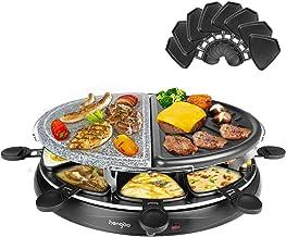 Appareil a Raclette Grill avec Pierre Naturelle et Plaque en Fonte Réversible, 1 500 W, Inclus: 8 Poêlons, Noir