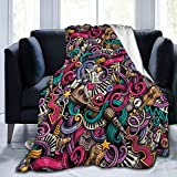 Colorful Music Note Musical Instrument Soft Throw Blanket All Season Microplush Warm Blankets Lightweight Tufted Fuzzy Flannel Fleece Throws Blanket for Bed Sofa Couch