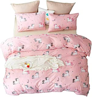 YOMIMAX 2 Pieces Pink Bedding Set Twin Unicorn Duvet Cover Twin for Kids Boys Girls(Twin,Pink)