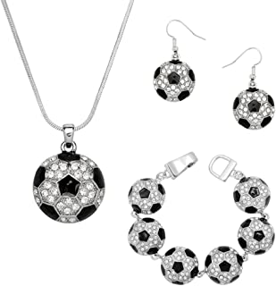 Crystal Soccer Theme Necklace Earrings and Bracelet Set w Gift Box