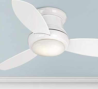"""Minka-Aire F518L-WH, Concept II LED White Flush Mount 44"""" Ceiling Fan with Wall Control & Additional Remote Control"""