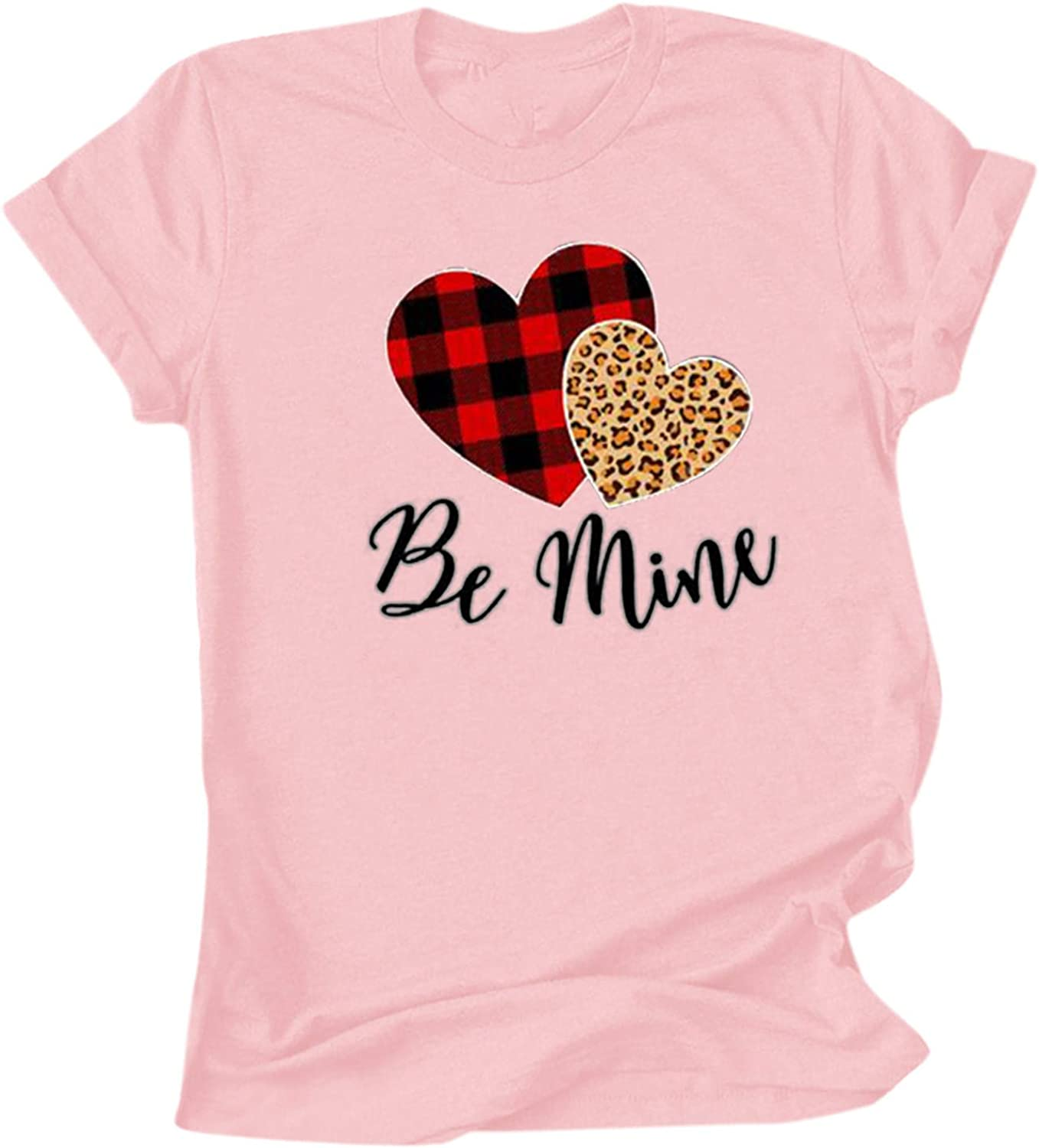VEKDONE Womens Valentine's Day Graphic T Shirts Leopard Love Heart Printed Short Sleeve Basic Tee Blouse Tops