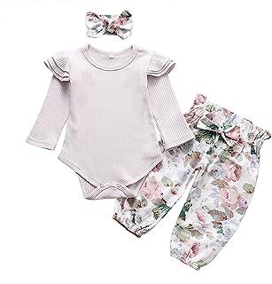3PCS الوليد طفلة رومبير الملابس مجموعة الرضع كم طويل بلون بذلة قمم السراويل عقال ملابس ملابس (Color : Gray, Kid Size : 24M)