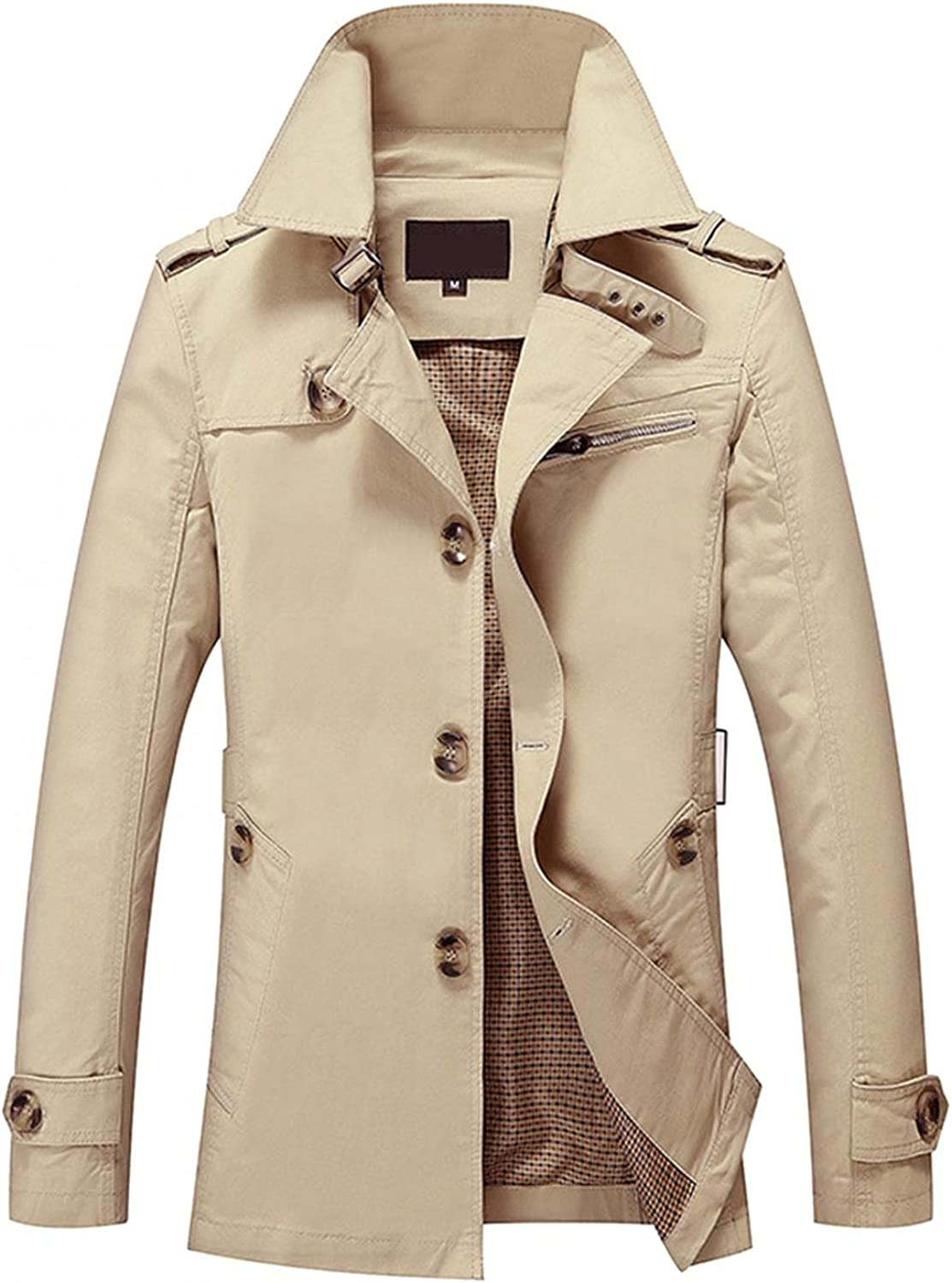 LEIYAN Mens Oversized Trench Coat Long Sleeve Lapel Collar Button Down Casual Windproof Windbreaker Jackets Overcoat