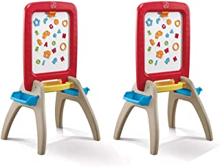 Step2 All Around Easel for Two Kids Dry Erase Magnetic Chalkboard Learning Easel (2 Pack)