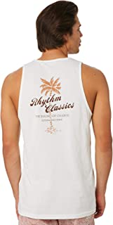 Rhythm Men's Tropics Singlet Sleeveless Cotton White