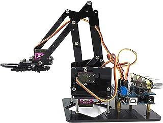 QueenHome Full Metal Robot Brazo, Kit De Pinza De Pinza Robótica Mecánica Sin Servos para Arduino, Ensamblado Acrílico Agarrando DIY 4DOF, Acrílico De 4 Ejes Giratorio Mecánico con Arduino UNO