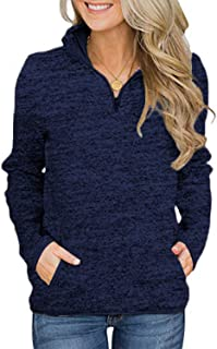 AIMICO Womens 1/4 Zip Pullover Sweatshirt Long Sleeve Stand Collar Shirt with Pockets