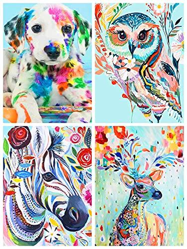 Qhui Diamond Painting Kits, 4 Pack Peinture Diamant pour Enfants et Adultes, Broderie Diamant kit Complet Animaux, 5d Diamant Painting Strass Chien Cheval Hibou Cerf pour Home Wall Decor