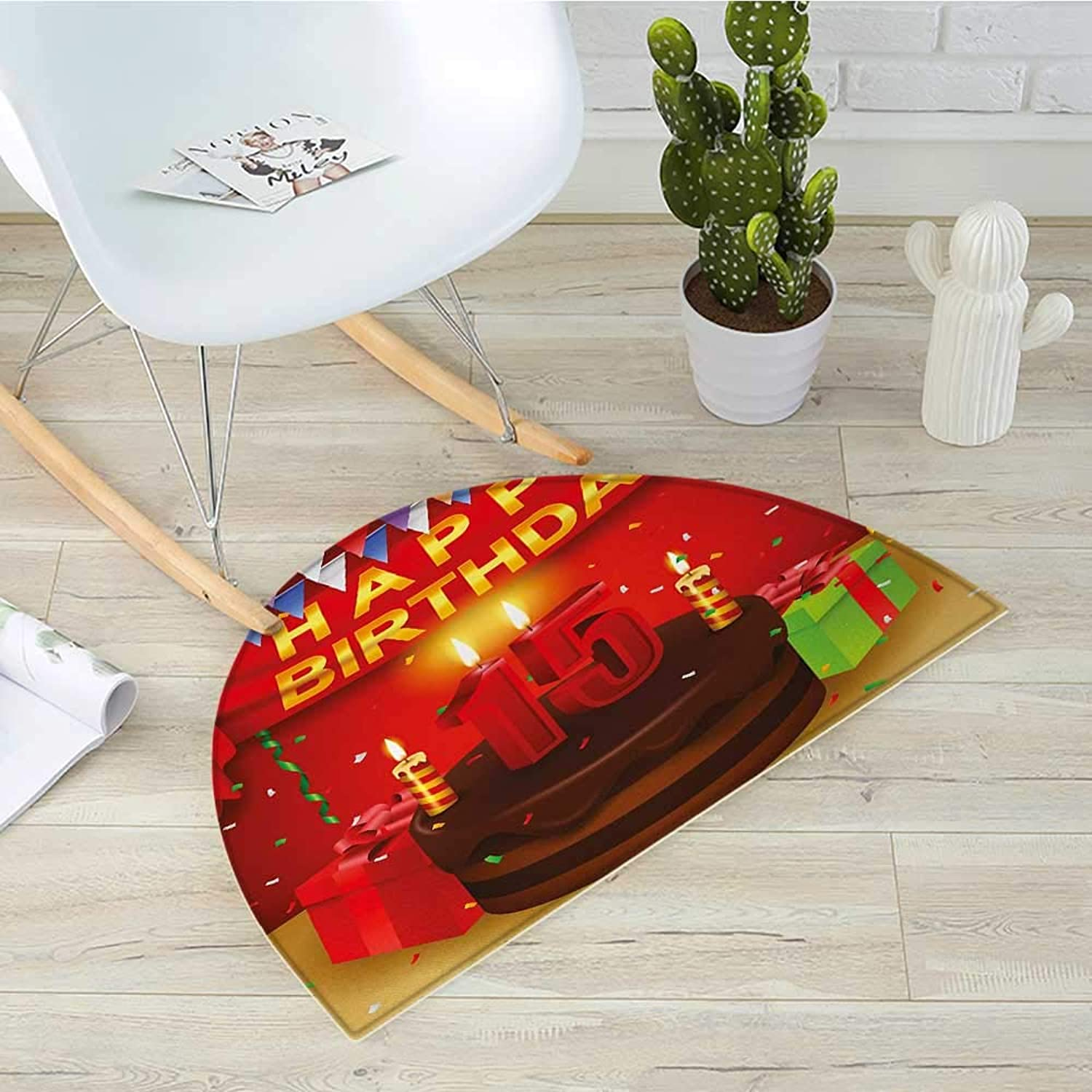 15th Birthday Semicircle Doormat Teenage Party Set Up with colorful Flags Ribbons Balloons and Creamy Cake Halfmoon doormats H 31.5  xD 47.2  Multicolor