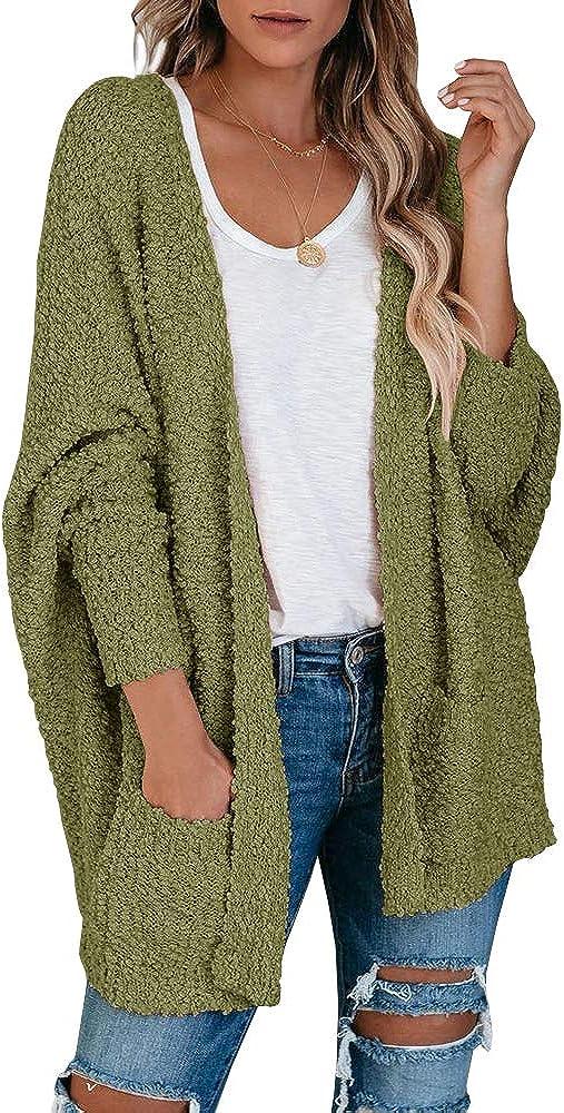 Saodimallsu Womens Chunky Popcorn Cardigan Oversized Open Front Boyfriend Batwing Long Sleeve Fuzzy Knit Sweaters