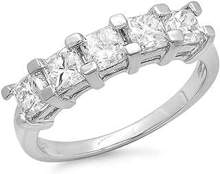 Dazzlingrock Collection 2.00 Carat (ctw) 18K Princess White Diamond 5 Stone Bridal Wedding Anniversary Band 2 CT, White Gold
