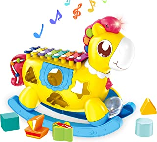 Musical Pony Toy for 18 Month and Up Baby Boy/Girl with Xylophone, Shape Matching, Light-up, Music and Animal Sound, Developmental Little Einstains Gifts for 1-3 Year Old Toddlers