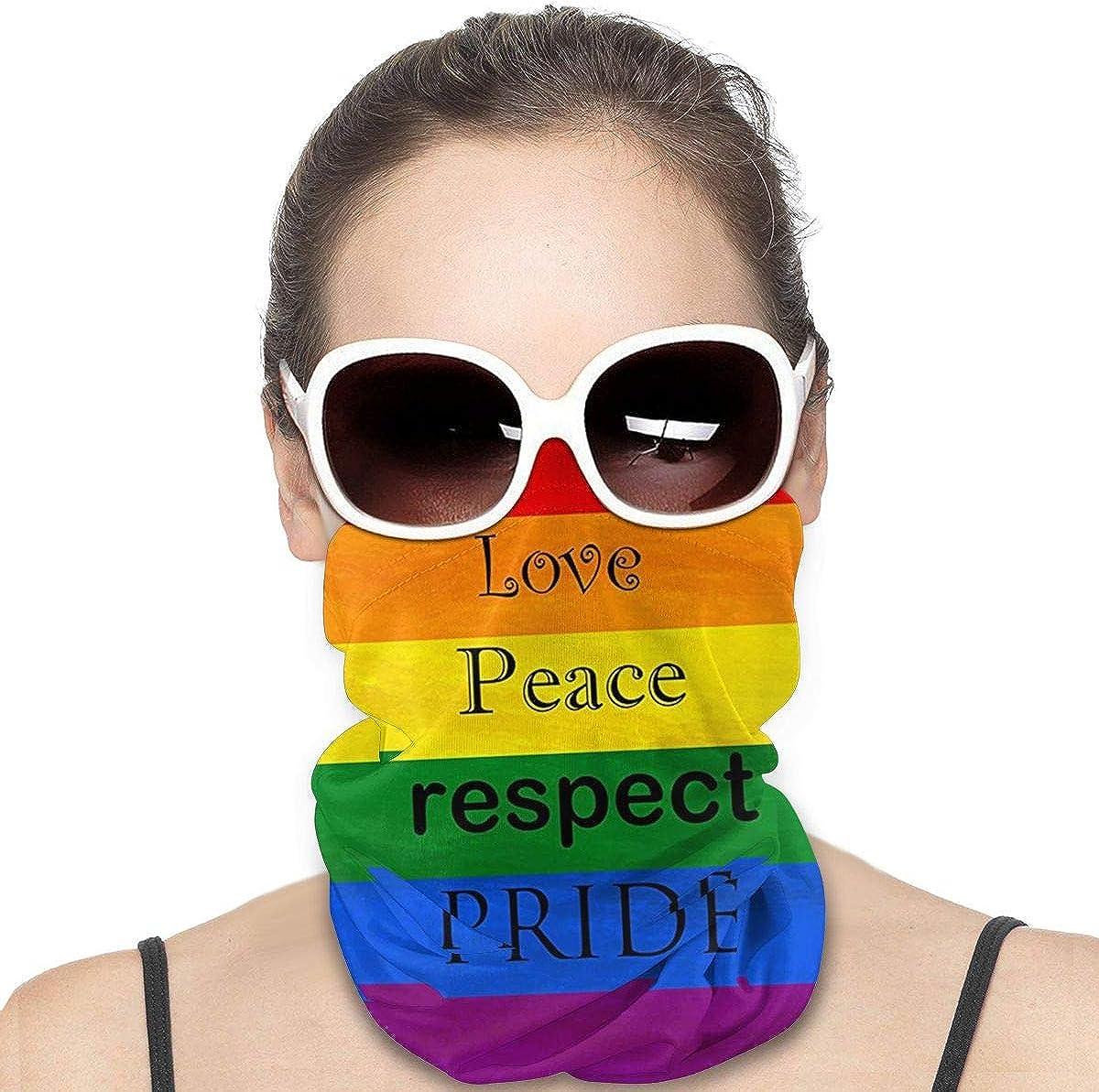 KiuLoam Women Bandanas Face Mask, Rainbow Flag Love Peace Respect Pride Neck Gaiter Mask Headband for Men Face Scarf Dust, Outdoors, Sports